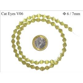 Perles Œil de Chat Facettées - Toupie/6 mm - Vert
