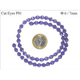 Perles Œil de Chat Facettées - Toupie/6 mm - Violet