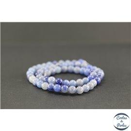 Perles semi précieuses en aventurine bleue - Ronde/6 mm