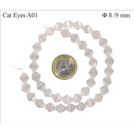 Perles Œil de Chat Facettées - Toupie/8 mm - Blanc