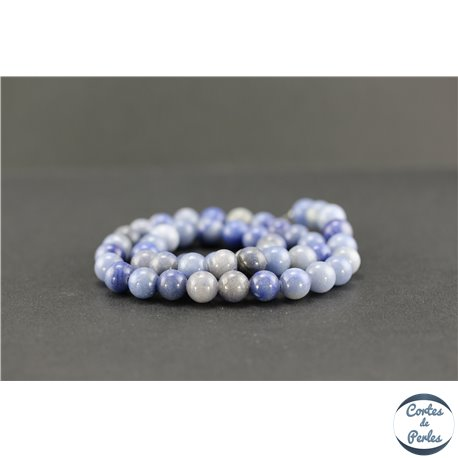 Perles semi précieuses en aventurine bleue - Ronde/8 mm