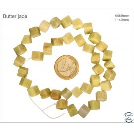 Perles semi précieuses en Jade - Cube/8 mm - Jaune