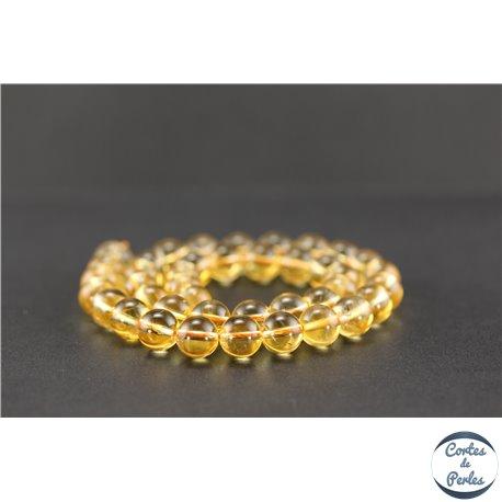Perles semi précieuses en citrine - Ronde/10 mm - Grade A