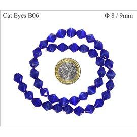 Perles oeil de chat facettées - Toupies/8 mm - Bleu Capri
