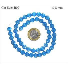 Perles Œil de Chat Facettées - Toupie/8 mm - Bleu