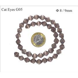 Perles Œil de Chat Facettées - Toupie/8 mm - Gris