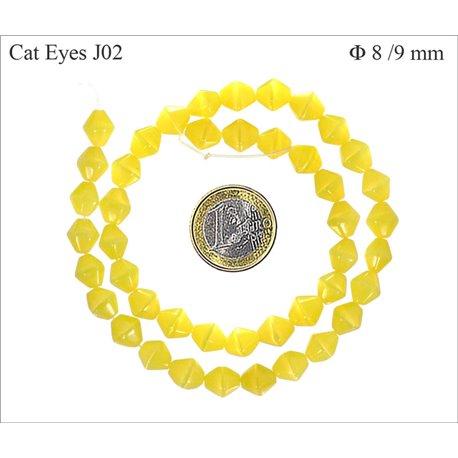 Perles Œil de Chat Facettées - Toupie/8 mm - Jaune