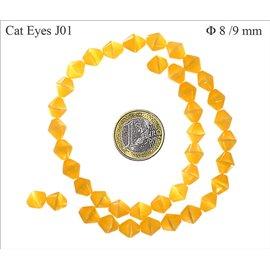 Perles oeil de chat facettées - Toupies/8 mm - Jaune orangé
