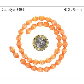 Perles Œil de Chat Facettées - Toupie/8 mm - Orange