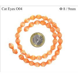 Perles Œil de Chat Facettées - Toupie/8 mm - Orange