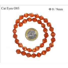 Perles Œil de Chat Facettées - Toupie/8 mm - Rouge