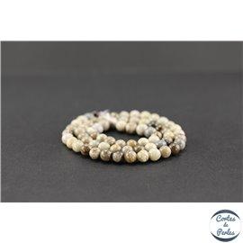 Perles semi précieuses en jaspe feuille d'argent - Ronde/6 mm