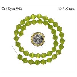 Perles Œil de Chat Facettées - Toupie/8 mm - Vert