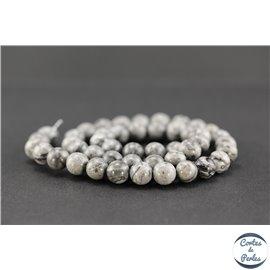 Perles semi précieuses en jaspe fancy - Ronde/8 mm - Gris cendré