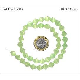 Perles oeil de chat facettées - Toupies/8 mm - Vert lagon