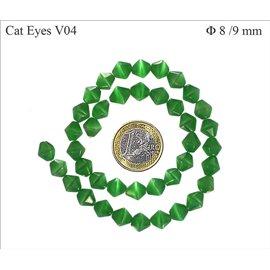 Perles oeil de chat facettées - Toupies/8 mm - Vert