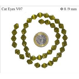 Perles oeil de chat facettées - Toupies/8 mm - Kaki