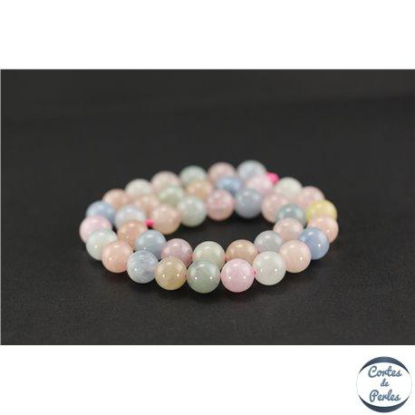 Perles semi précieuses en morganite - Ronde/10 mm - Grade AA