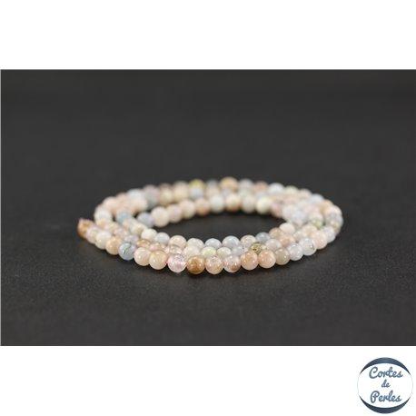 Perles semi précieuses en morganite - Ronde/4 mm - Grade AB