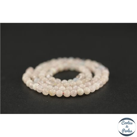 Perles semi précieuses en morganite - Ronde/4 mm - Grade AA
