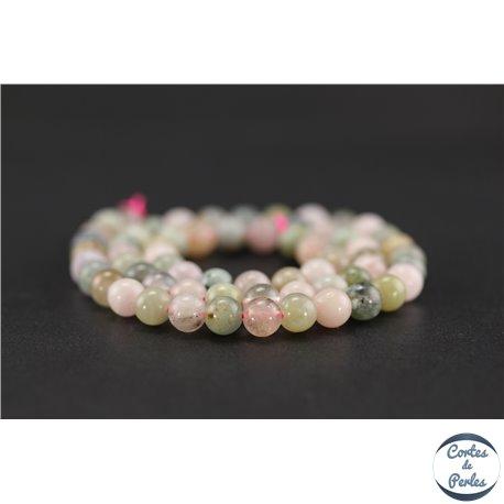 Perles semi précieuses en morganite - Ronde/6 mm - Grade AB