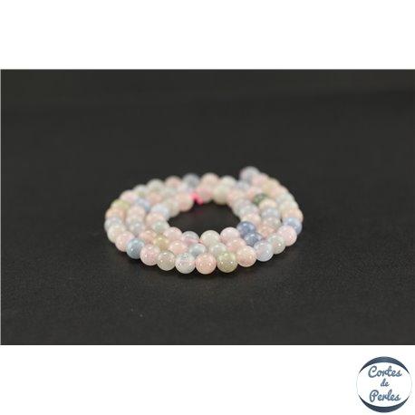 Perles semi précieuses en morganite - Ronde/6 mm - Grade AA