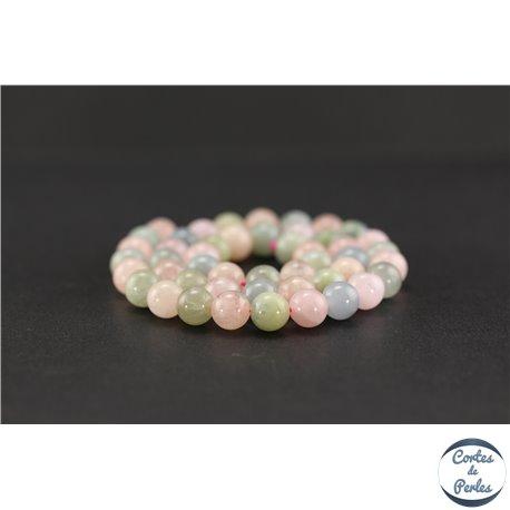 Perles semi précieuses en morganite - Ronde/8 mm - Grade AB