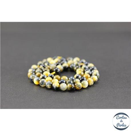 Perles semi précieuses en oeil de tigre - Ronde/6 mm - Grade A
