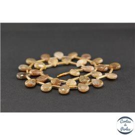 Perles semi précieuses en pierre de soleil - Goutte/14 mm