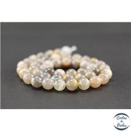 Perles semi précieuses en pierre de soleil noire - Ronde/8,5 mm