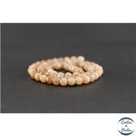 Perles semi précieuses en pierre de soleil - Ronde/6 mm - Grade A