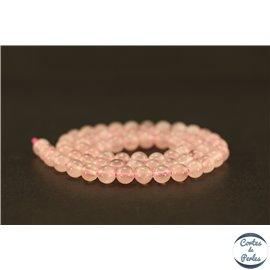 Perles semi précieuses en quartz rose de Madagascar - Ronde/6 mm - Grade AA