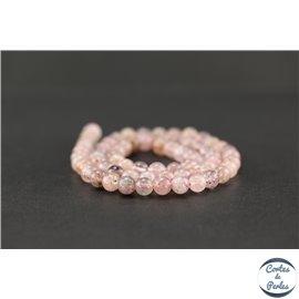 Perles en quartz fraise - Rondes/6mm