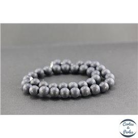 Perles semi précieuses en agate - Ronde/10 mm - Noir mat - Grade A