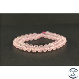Perles semi précieuses en quartz rose de Madagascar - Ronde/8 mm - Grade AA