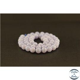 Perles semi précieuses en agate dentelle bleue - Ronde/8 mm - Grade AA