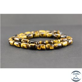 Perles semi précieuses en oeil de tigre - Tonneau/8 mm