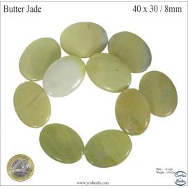 Perles semi précieuses en butter jade - Ovales/40 mm