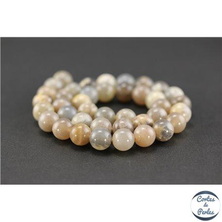 Perles semi précieuses en pierre de soleil noire - Ronde/10 mm