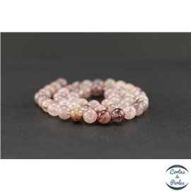 Perles en quartz fraise - Rondes/8mm