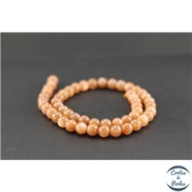 Perles semi précieuses en pierre de lune - Ronde/8 mm - Grade AA