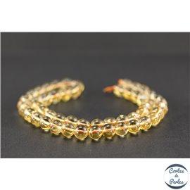 Perles semi précieuses en citrine - Ronde/8 mm - Grade A