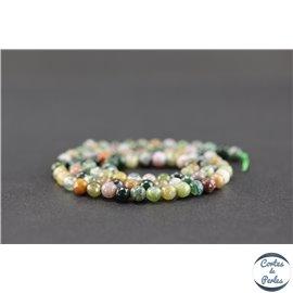 Perles semi précieuses en agate - Rondes/4 mm - Vert lagon
