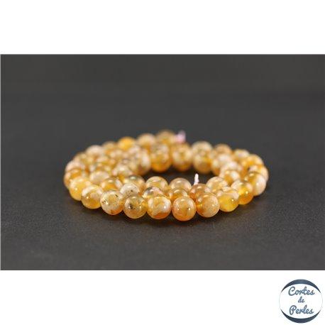 Perles semi précieuses en wheat agate - Rondes/8 mm - Saumon
