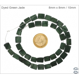 Perles semi précieuses en jade - Rectangles/8 mm - Vert foncé