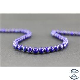 Perles semi précieuses en lapis lazuli d'Afghanistan - Ronde/5 mm