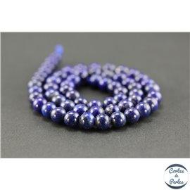 Perles semi précieuses en lapis lazuli d'Afghanistan - Ronde/7 mm