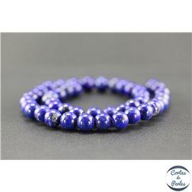 Perles semi précieuses en lapis lazuli d'Afghanistan - Ronde/9 mm