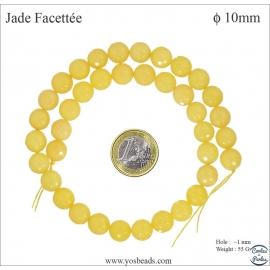 Perles semi précieuses en Jade - Ronde/10 mm - Bouton d'Or