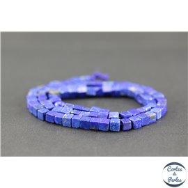 Perles semi précieuses en lapis lazuli d'Afghanistan - Cube/5 mm